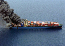 Fire on a vessel carrying containers