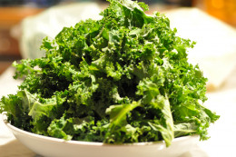 Kale leaves cut into pieces ready to be added to the pan. Image: © Siu Ling Hui