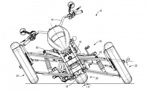 This patent drawing shows the maximum lean angle