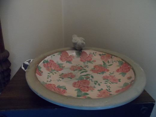 decorative bird bath indoors, to fill a corner with a touch of spring