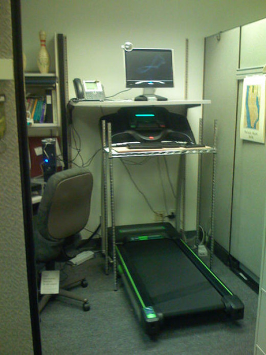 This is an example of a homemade walking workstation.