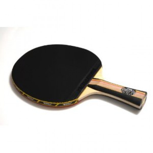 A premade offensive table tennis racket with a straight grip handle