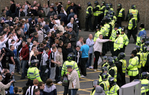 Newcastle fans being penned in by police