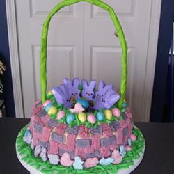 Easter basket shaped cake with Peeps