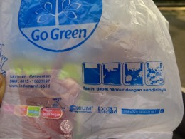 Degradable plastic used for packaging.