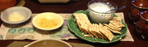 I serve mine with crackers for my husband and heated and lightly buttered (okay, it's me.. slathered butter) tortillas.