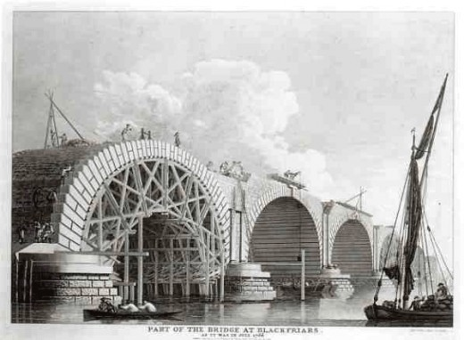 1776 engraving of Blackfriars Bridge, where Cassandra Clare got her inspiration for The Infernal Devices