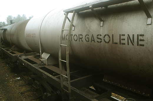 Gasoline tanks on rails at Rambukkana.