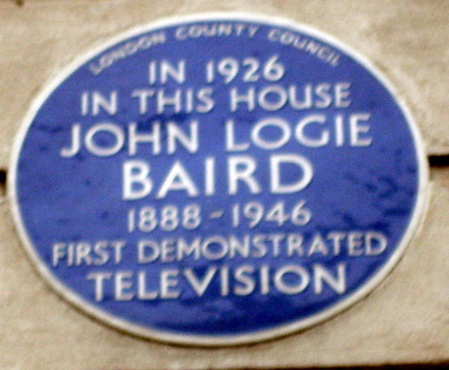 The plaque commemorating the house in which John Logie Baird gave the first demonstration of television to a small, invited audience.