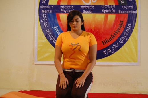 Namitha doing Yoga