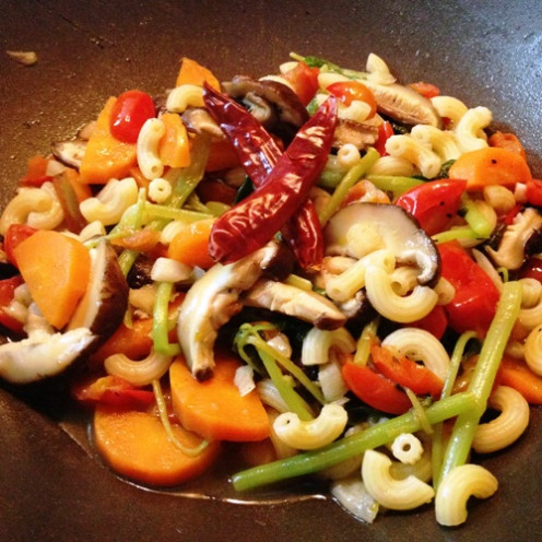 Vegetable stir-fry recipe with elbow macaroni