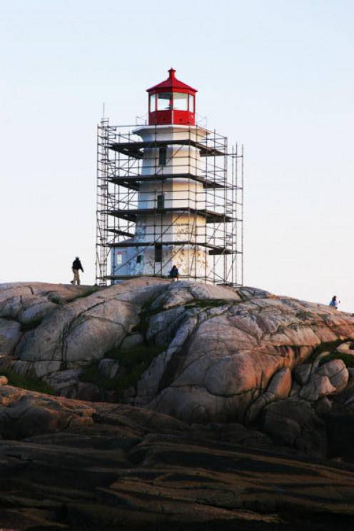 Image: Peggy's Cove Lighthouse Repaint Project, July 13, 2009.