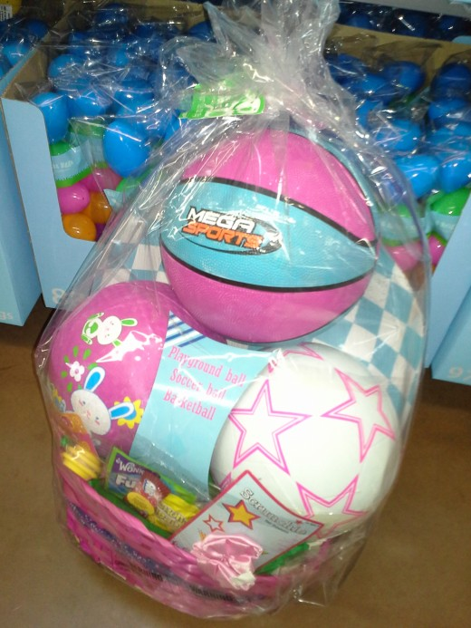 Walmart premade basket with outdoor toys, Balls
