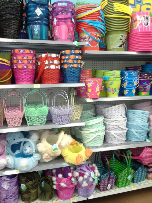 Easter baskets, buckets and decorative containers