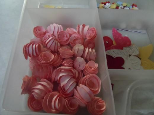 Handmade, hand cut mini paper roses.