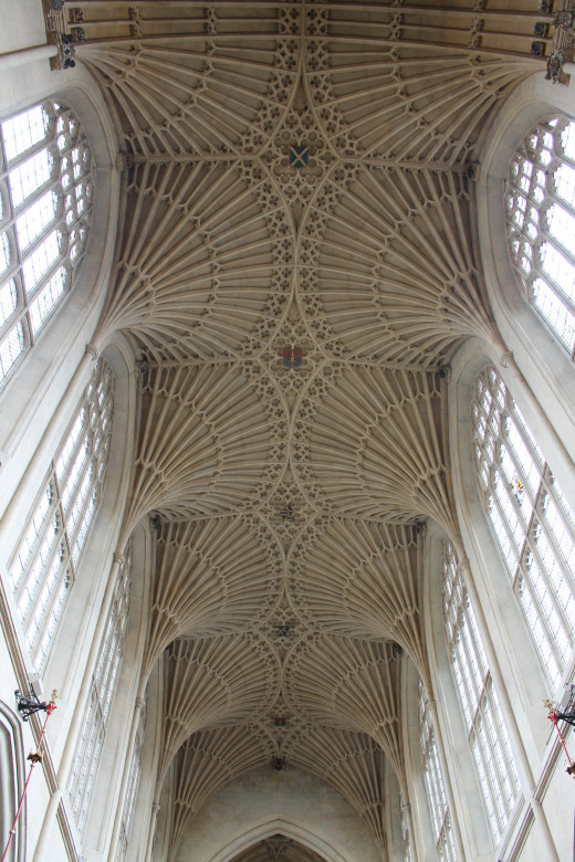 The nave ceiling, Bath Abbey, Bath, England.