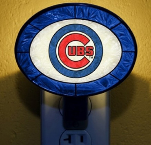 Night Light with Cubs Logo in Bright Blue White and Red - Sharp!