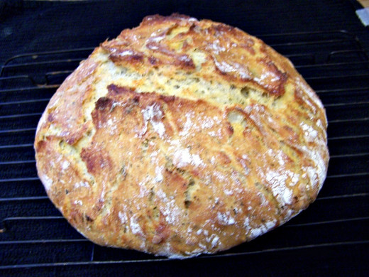 Crusty bread with savory additions