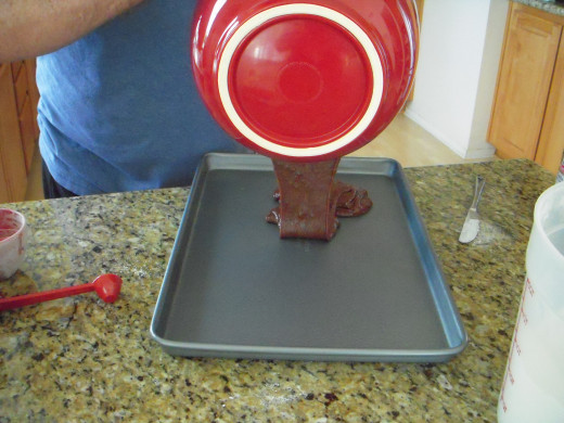 Pour batter into greased jelly roll pan.