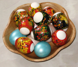 Sticks on Easter eggs