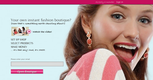 Landing page to open your jewelry boutique.  Enter your e-mail address to get started.