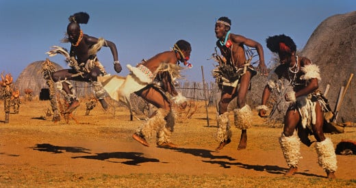 Zulu dancers at a traditional ceremony