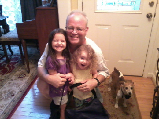 """Paw Paw"" with granddaughters and, of course, Cookie, had to get in the picture, as she knew she was going for a walk!"