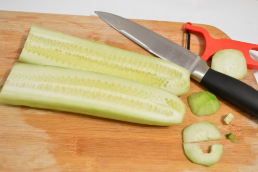 Cut the cucumber in half lengthwise