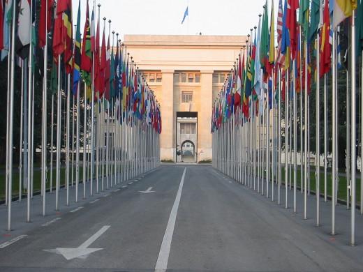 Flags at the ONU building, Geneva