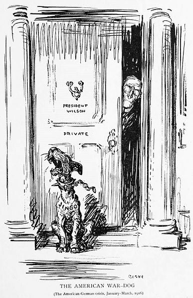 """The American-German Crisis, January-March 1916. Depicts U.S. President Woodrow Wilson looking out his door at howling dog labeled """"Jingo""""; representing those in the U.S. eager to join the Great War against Germany. Oscar Cesare, 1916."""
