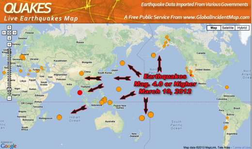 Flurries of large earthquakes indicate recent activity in the Ring of Fire.