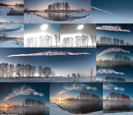 This awesome photographic montage was captured of the Russian meteor even though the photographer thought it was a nuclear missile.