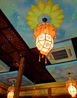 Dining room lanterns at Whole Earth