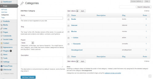 CATEGORIES SECTION OF WORDPRESS ADMINISTRATION DASHBOARD