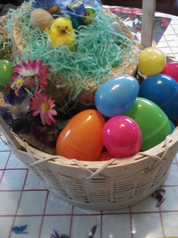 Easter Basket with eggs, chicks, and flowers