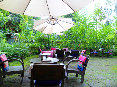 Terrace seating at Fern Forest Cafe