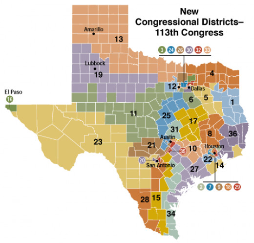 THE SMALL WHITE RECTANGLES ARE COUNTIES, THE LARGER COLORED SHAPES ARE CONGRESSIONAL DISTICTS