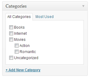CATEGORY OPTIONS TO RIGHT OF BLOG POST