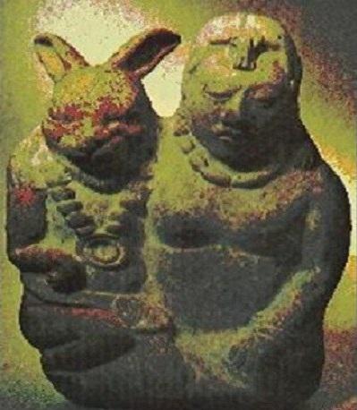 Goddess of fertility with symbol of fertility.