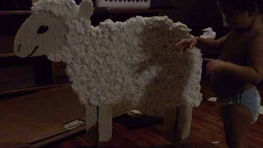 Juju with stand alone cotton cardboard lamb