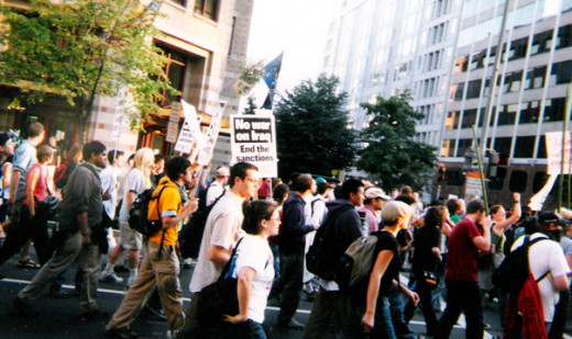 Picture of anti-Iraq-sanctions and anti-Iraq-invasion marchers. 2002 or 2003, Washington, DC.
