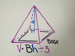 The formula for the volume of a pyramid is Bh÷3.