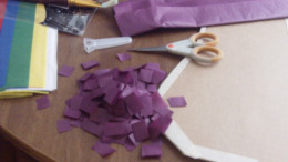 Cut cut pieces of tissue paper.  I found keeping the tissue paper folded while cutting the easiest way to do this.