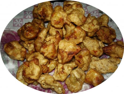 Coated and fried cauliflower