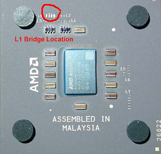 AMD Duron Processor with L1 Bridges Highlighted