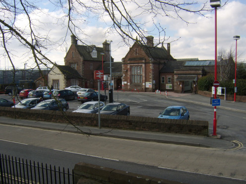 Penrith railway station is straight across the Ullswater Road from Penrith Castle