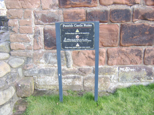 Safety information notices are prominently displayed at Penrith Castle and should be adhered to at all times