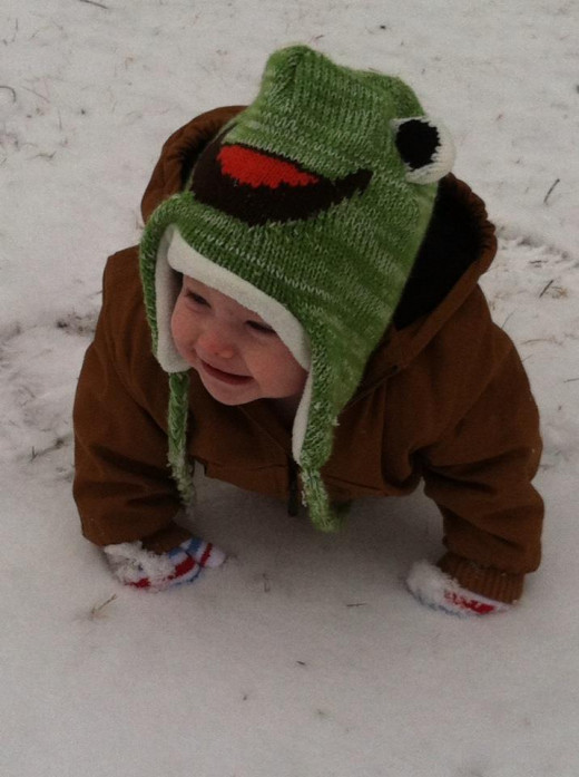 My son playing in the snow.