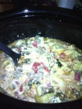 Slow Cooker Crockpot Spinach, Cream Cheese & Sausage Tortellini