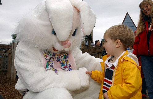 The Easter Bunny makes many appearances on Easter Sunday.